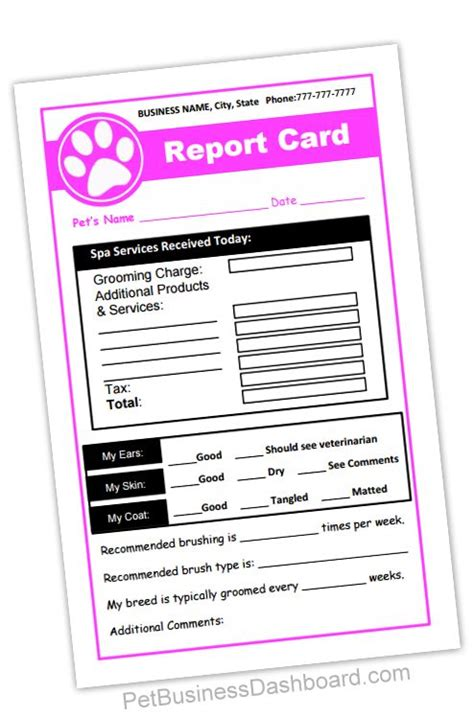customer report card template grooming receipt report cards in 1 printable and