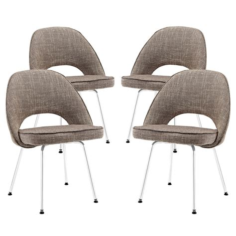 Upholstered Dining Chairs Set Of 4 Set Of 4 Cordelia Tweed Upholstered Dining Chairs With Chrome Legs Oat