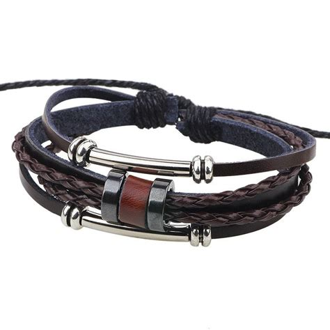 Handmade Leather Bracelet - handmade pu leather bracelet brown tribal bohemian