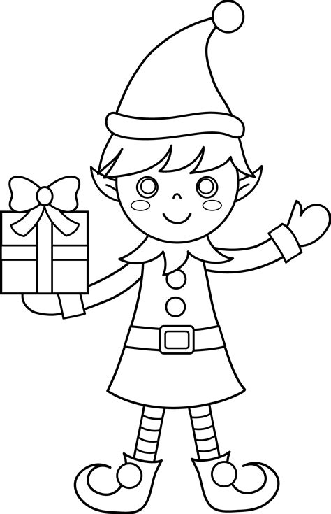 coloring pages for elves christmas elf coloring page free clip art