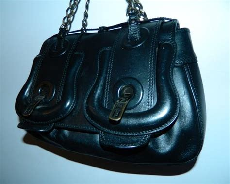 Fendi Grande B Mix Purse by Black Leather Fendi B Buckle Bag Purse Retro Trend Vintage