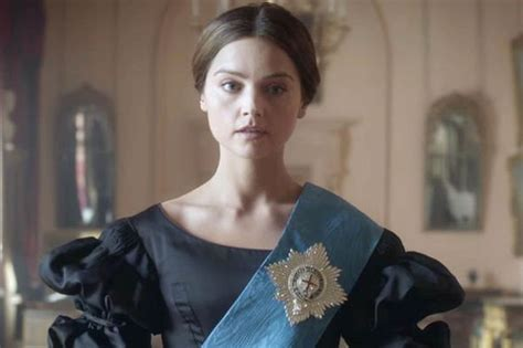 itv drama queen victoria jenna coleman daringly takes the plunge in low cut leg