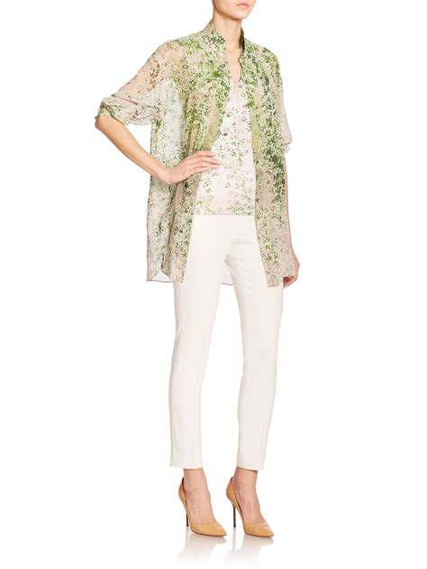 Clover Clothing Tunic Helena akris cotton silk clover print tunic in green lyst