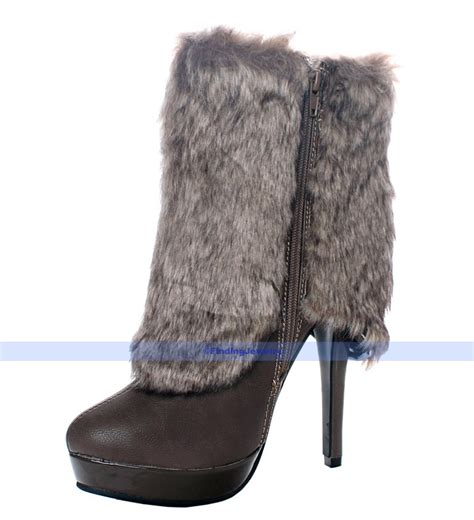 faux fur high heel boots description explanation