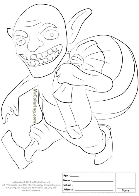 Tshirt Coc Peka free printable clash of clans goblin coloring pages 2