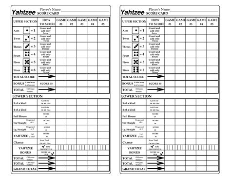printable yahtzee score sheets yahtzee score sheet printable google search games