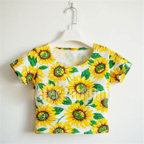Lamora Summer Sunflower Shirt summer sunflower print sleeve midriff baring crop tops shirt sd2 ebay
