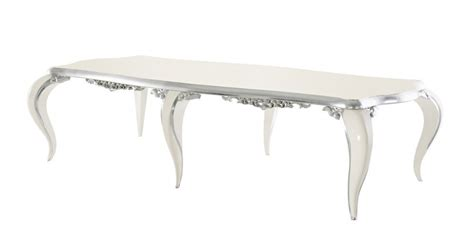 Silver Leaf Dining Table High Gloss White And Silver Leaf Carved Dining Table
