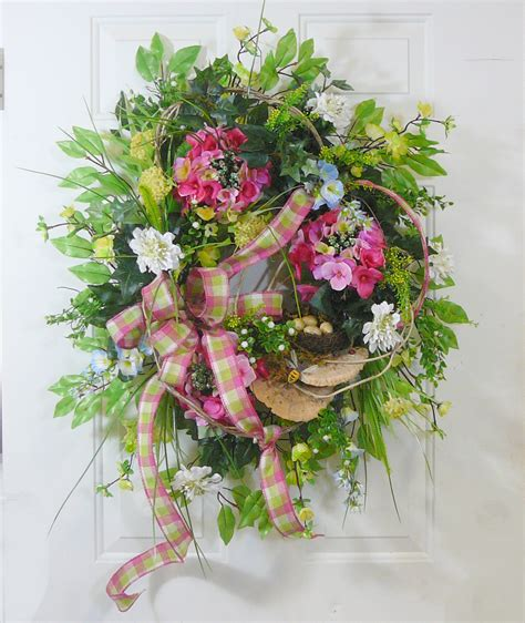x large spring summer outdoor wreath with bird nest and