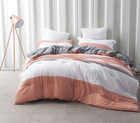 coral and white bedding dorm bedding set college coral gray and white striped extra long twin comforter