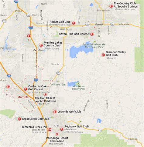 murrieta ca map murrieta california area golf courses map