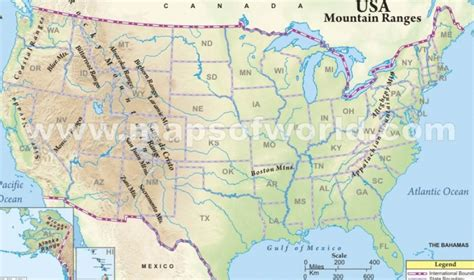 physical map of the united states for map of us including rivers and mountains