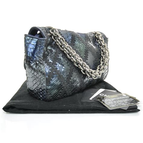 Chanel Crochet Stitched Python Flap Bag by Chanel Python Crochet Stitched Jumbo Flap Blue 22196