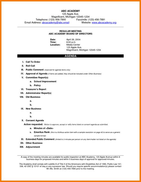 Appraisal Meeting Letter 8 Exles Of An Agenda Mailroom Clerk