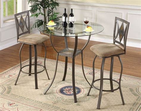 glass top bar table set glass top metal base table modern 3pc bar set