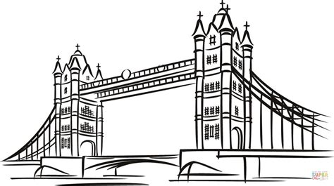 tower bridge in london coloring page free printable