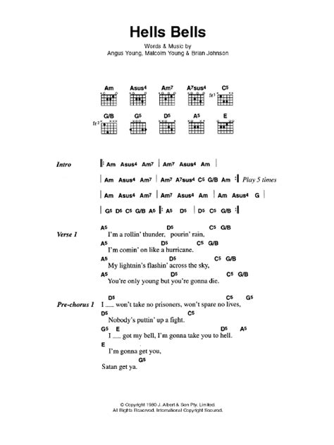 Tablature Wedding Bell hells bells by ac dc guitar chords lyrics guitar