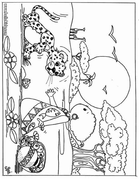 coloring sheets african animals kid and leopard coloring pages hellokids com