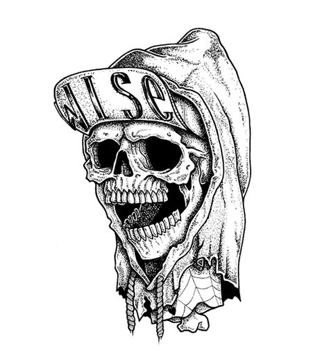 the skull with a snapback amp a hoodie on behance