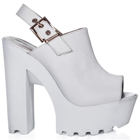 suri block heel cleated sole platform shoes white