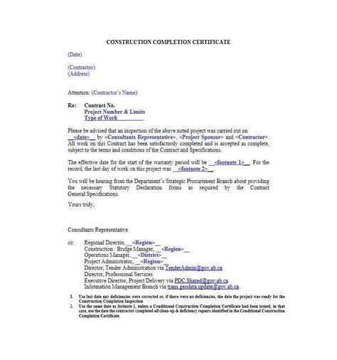 certification letter for construction work completion certificate letter tolg jcmanagement co
