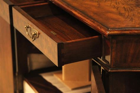 Tongue And Groove Drawers by Serpentine Open Shelf Side Cabinet With Brass Door Panels