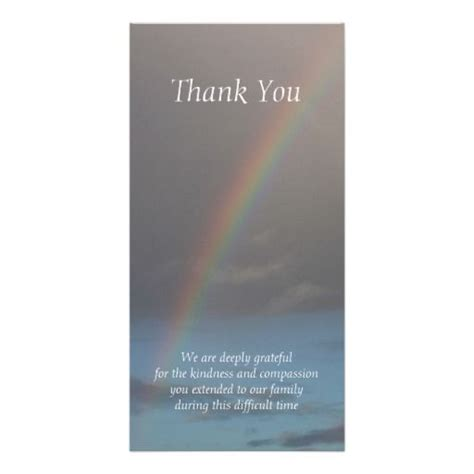 funeral thank you cards templates rainbow sympathy thank you cards photo card template