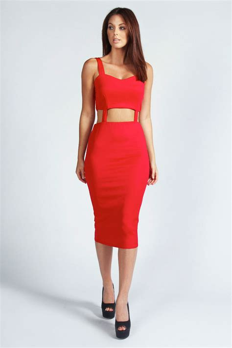 Best Buy Toasters Cheryl Cut Out Midi Bodycon Dress Red Red Online