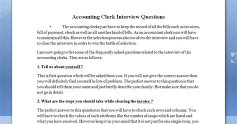 see once accounting clerk questions