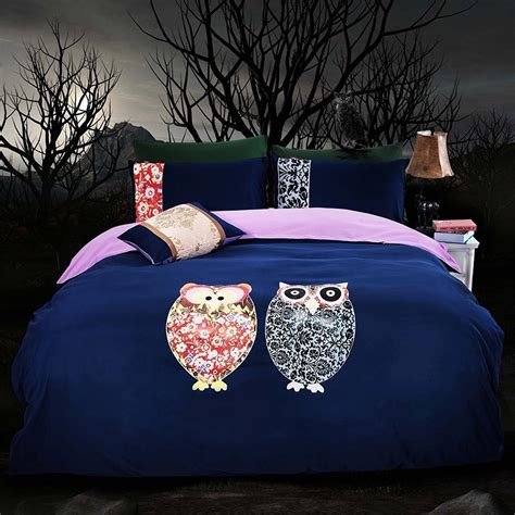 dark blue owl comforter queen twin king size korean design