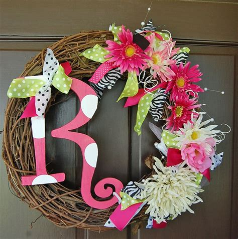 Letter Wreaths For Door by Totally Custom Initial Wreath With Flowers Ribbon Wooden