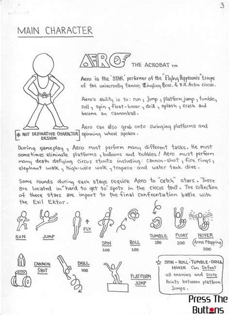 design concept document original pitch documents for aero the acro bat