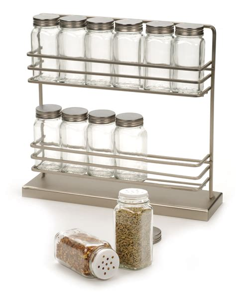 Brushed Stainless Steel Spice Rack rsvp brushed steel spice rack w 12 spice herb jars bottles kitchen organization ebay