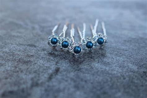 Wedding Hair Accessories Navy by Blue Hair Pins Updo Hair Pins Blue Bridesmaid Hair
