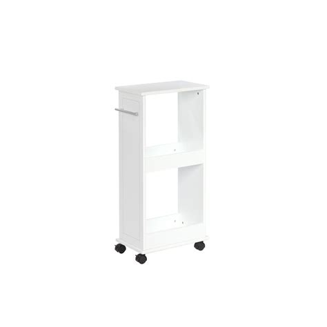 Bathroom Shelves Home Depot Riverridge Home 16 In W Rolling Side Cabinet With Shelves In White 06 033 The Home Depot