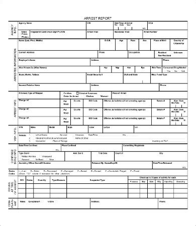 Police Report Template 9 Free Word Pdf Documents Download Free Premium Templates Arrest Report Template