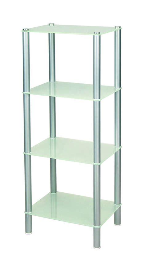 scaffale vetro scaffale bagno in acciaio opaco con 4 ripiani in vetro