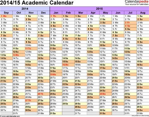academic calendar template 2014 15 academic calendars 2014 2015 as free printable word templates