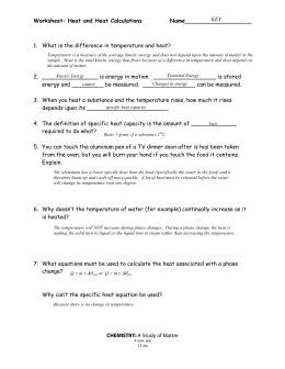 Heat Calculations Worksheet by Worksheet Heat And Heat Calculations