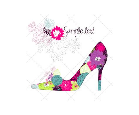 floral pattern high heels beautiful high heel shoe vector with floral pattern high