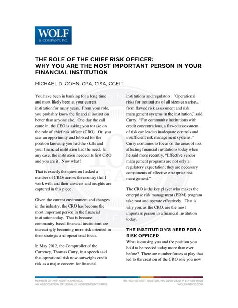Chief Risk Officer Cover Letter by The Of The Chief Risk Officer Why You Are The Most Important Per