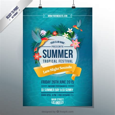 poster design vector download summer tropical festival poster vector free download