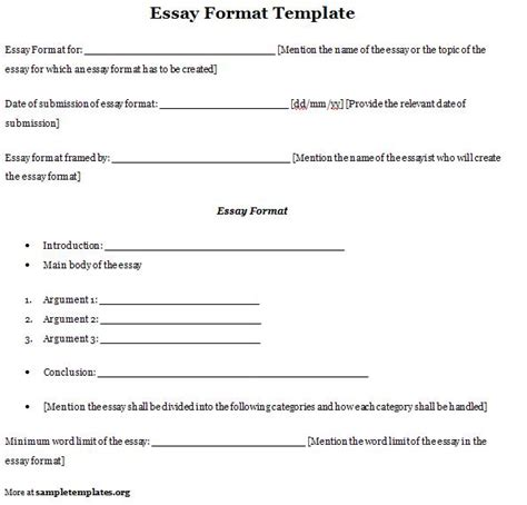 template of an essay essay format template sle sle of essay format