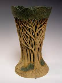 silver kiln beautiful tree bowl incised carved openwork