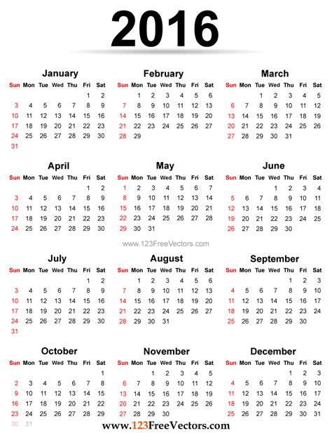 printable calendar 2016 entire year yearly calendar 2016 to print hd calendars 2018 kalendar