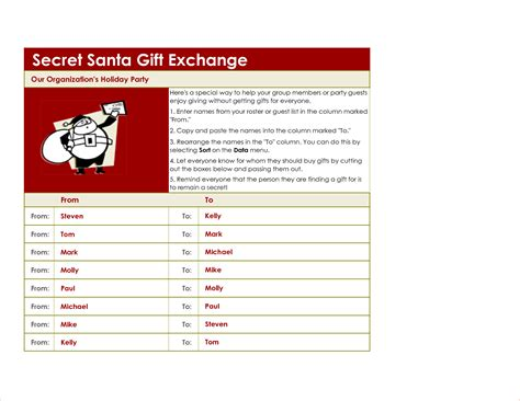 santa list template 5 secret santa list template procedure template sle