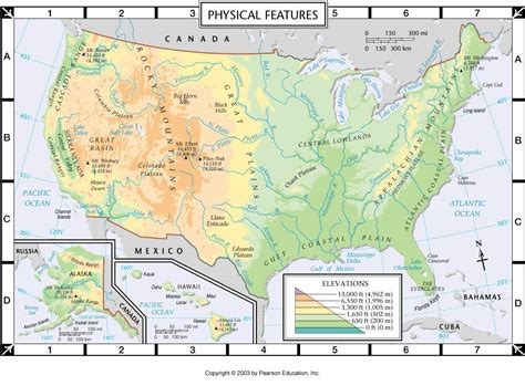 usa and canada physical features map map of united states and canada physical features map of