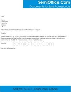 Payment Request Letter To Customer Advance Payment Letter Format