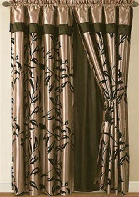 black and tan curtains amelia black and tan flocked curtain set w valance sheer