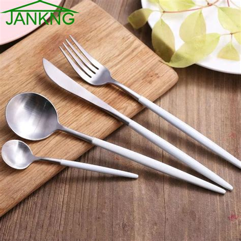 luxury cutlery jankng 24 pcs lot white handle silver stainless steel dinnerware set luxury cutlery set matte